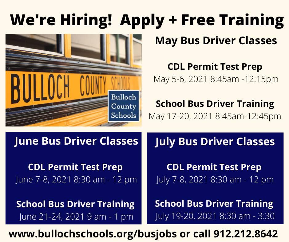 bulloch county schools hiring bus drivers training cdl 052021