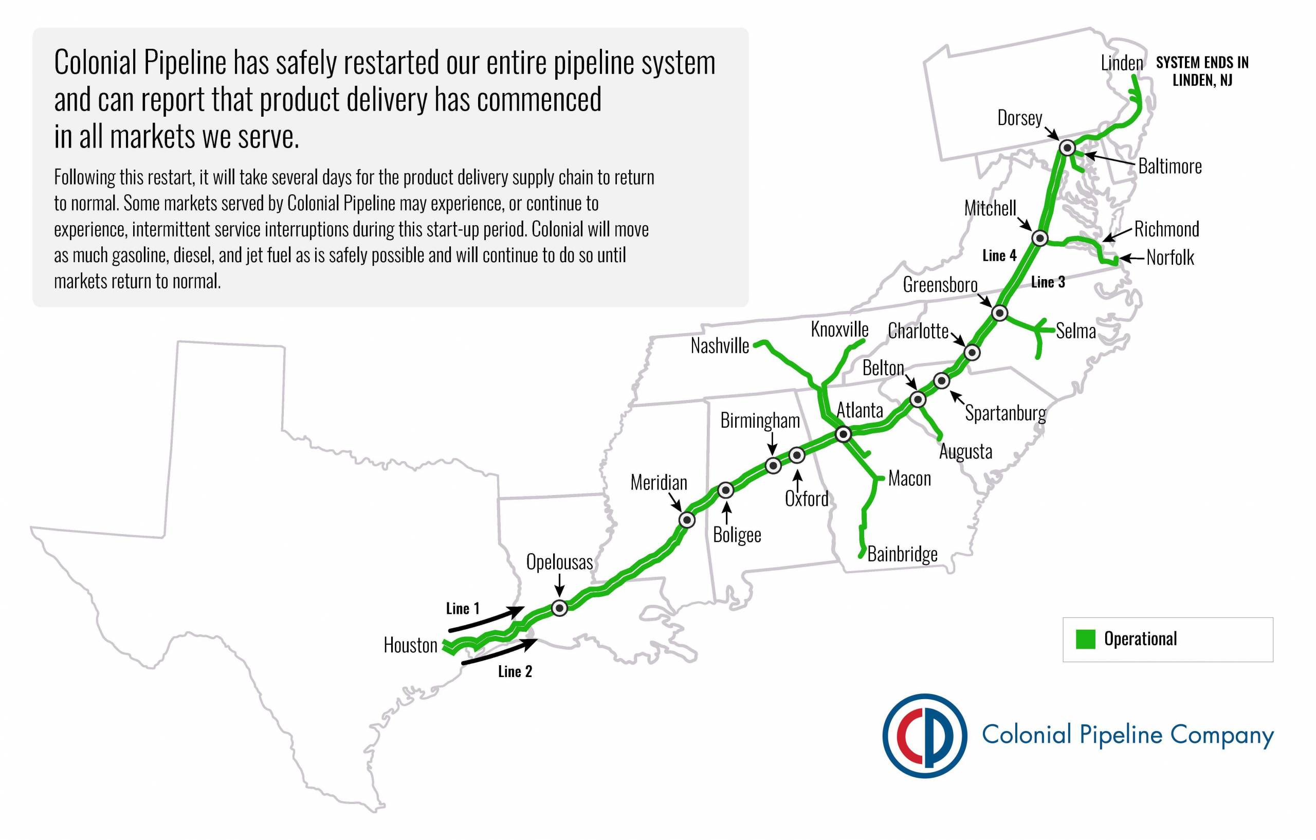 colonial pipeline evening update 05132021