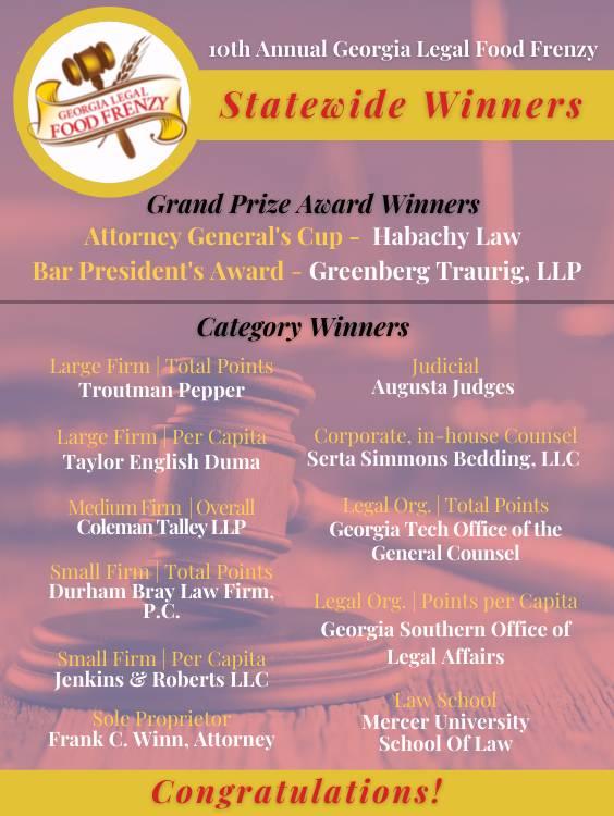 Statewide-Winners ga legal food frenzy