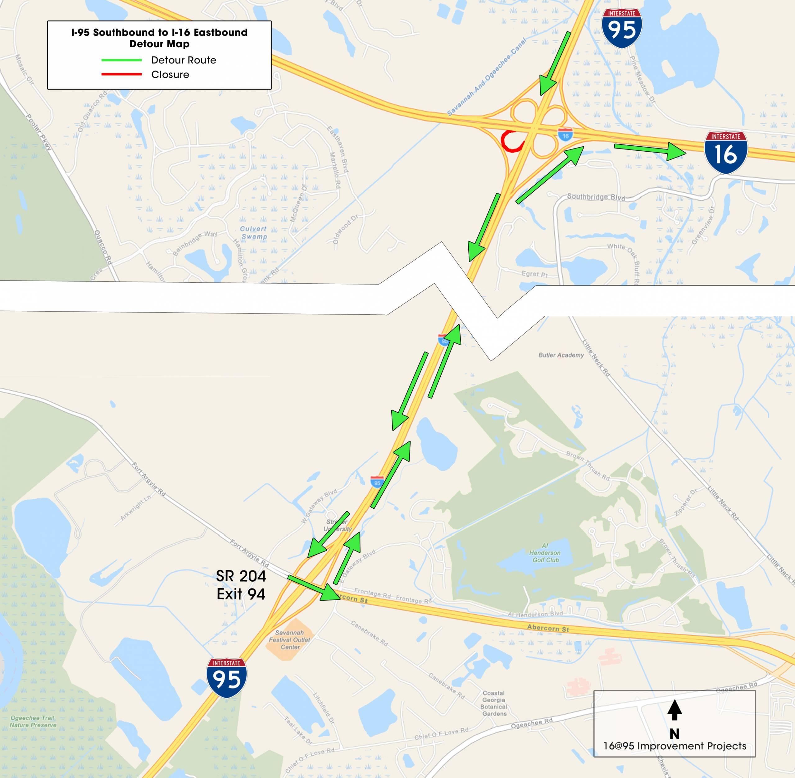 I-16 SB to I-95 EB detour july 24
